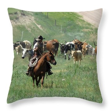 Checking The Cattle Throw Pillow