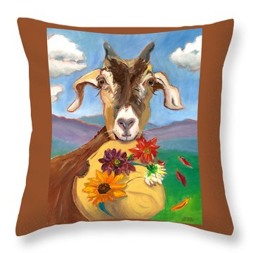 Throw Pillow featuring the painting Cheeky Goat by Susan Thomas