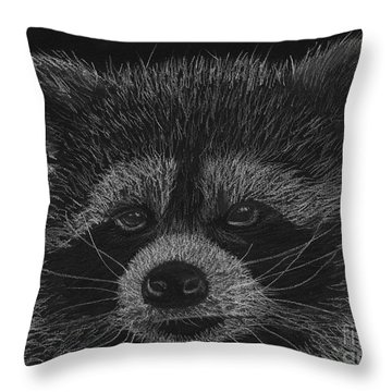 Cheeky Little Guy - Racoon Pastel Drawing Throw Pillow