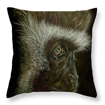 Cheeky Monkey Throw Pillow by Heidi Kriel