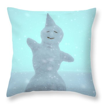 Throw Pillow featuring the photograph Cheerful Snowman by Ari Salmela
