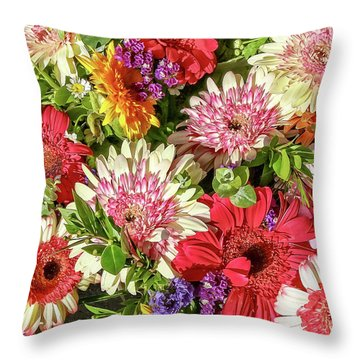 Cheerful Spring Collection - Gerbera Daisies Throw Pillow