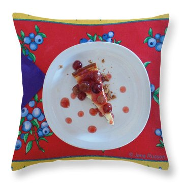 Throw Pillow featuring the digital art Cheese Cake With Cherries by Jana Russon