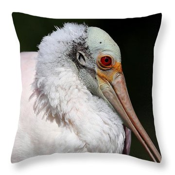 Cheese Puff Face - Roseate Spoonbill Throw Pillow