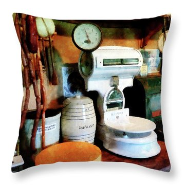Cheese Sausage And Scale Throw Pillow by Susan Savad