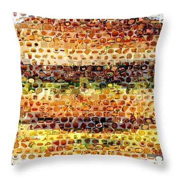 Throw Pillow featuring the mixed media Cheeseburger Fast Food Mosaic by Paul Van Scott