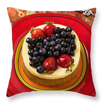 Cheesecake On Red Plate Throw Pillow by Garry Gay