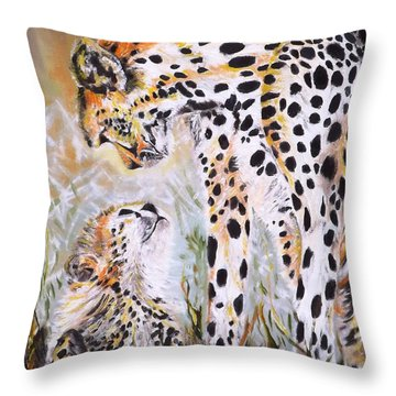 Cheetah And Pup Throw Pillow