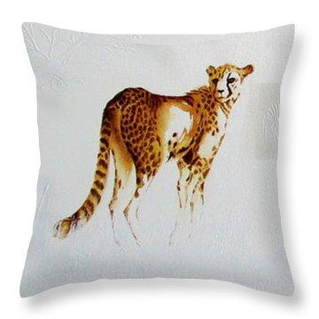 Cheetah And Zebras Throw Pillow