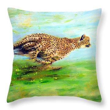 Cheetah At Speed Throw Pillow