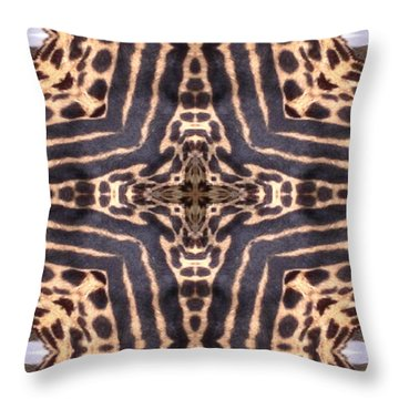 Cheetah Cross Throw Pillow by Maria Watt