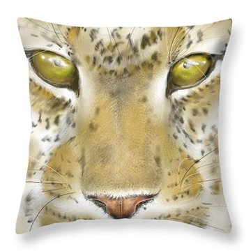 Cheetah Face Throw Pillow by Darren Cannell