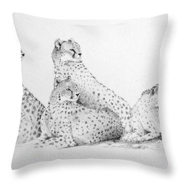 Cheetah Group Throw Pillow by Alan Pickersgill