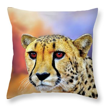 Cheetah Throw Pillow by Janette Boyd