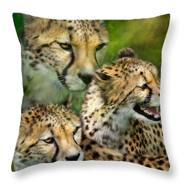 Cheetah Moods Throw Pillow by Carol Cavalaris