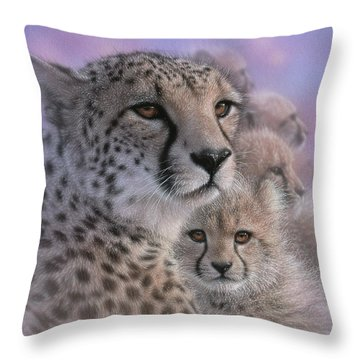 Cheetah - Mother's Love Throw Pillow