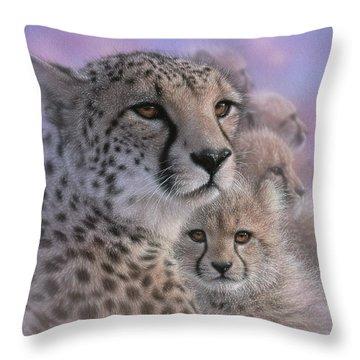 Cheetah - Mother's Love Throw Pillow