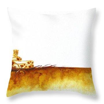 Cheetah Mum And Cubs - Original Artwork Throw Pillow