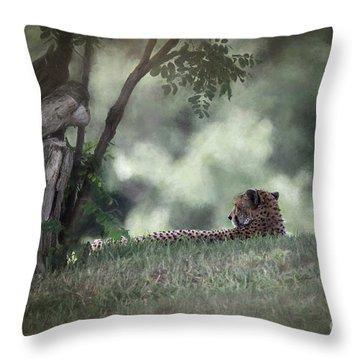 Cheetah On Watch Throw Pillow