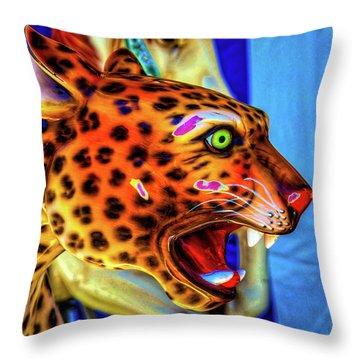 Cheetah Ride Portrait Throw Pillow