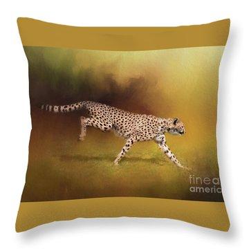 Cheetah Running Throw Pillow