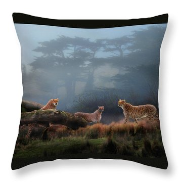 Cheetahs In The Mist Throw Pillow