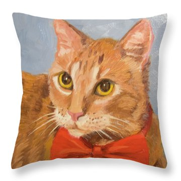 Cheetoh Cat Portrait Throw Pillow