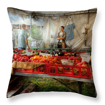 Chef - Vegetable - Jersey Fresh Farmers Market Throw Pillow by Mike Savad
