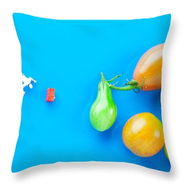 Throw Pillow featuring the painting Chef Tumbled In Front Of Colorful Tomatoes II Little People On Food by Paul Ge
