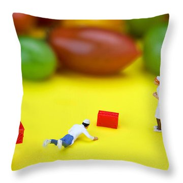 Throw Pillow featuring the painting Chef Tumbled In Front Of Colorful Tomatoes Little People On Food by Paul Ge