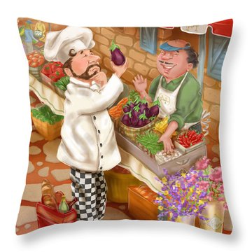 Chefs Go To Market I Throw Pillow