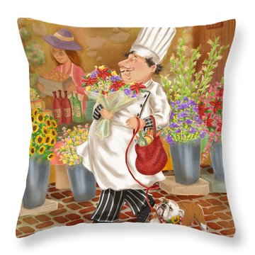 Chefs Go To Market II Throw Pillow