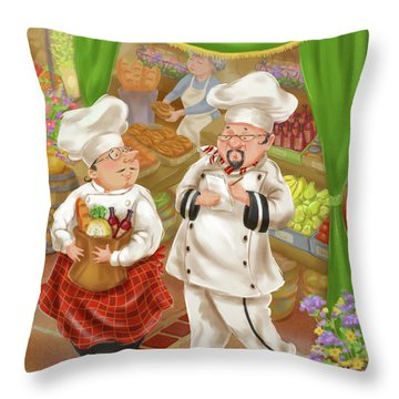 Chefs Go To Market IIi Throw Pillow