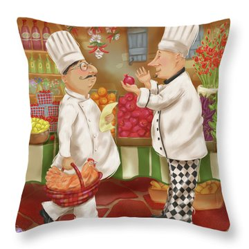 Chefs Go To Market Iv Throw Pillow