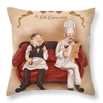 Chefs On A Break-a Little Conversation Throw Pillow