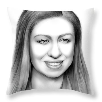 Chelsea Clinton Throw Pillow by Greg Joens