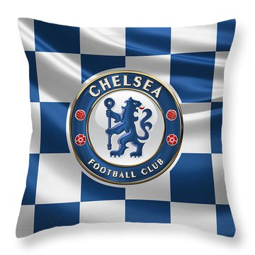 Chelsea F C - 3 D Badge Over Flag Throw Pillow by Serge Averbukh