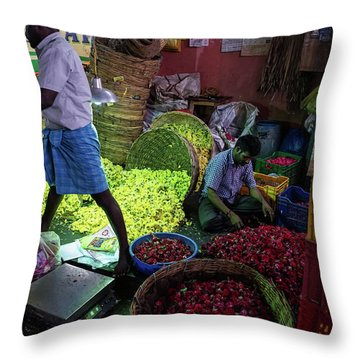 Throw Pillow featuring the photograph Chennai Flower Market Busy Morning by Mike Reid