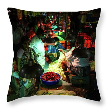 Throw Pillow featuring the photograph Chennai Flower Market Stalls by Mike Reid
