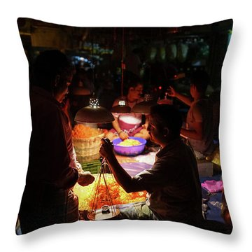 Throw Pillow featuring the photograph Chennai Flower Market Transaction by Mike Reid