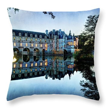 Chenonceau Twilight In Blue - Vintage Version Throw Pillow