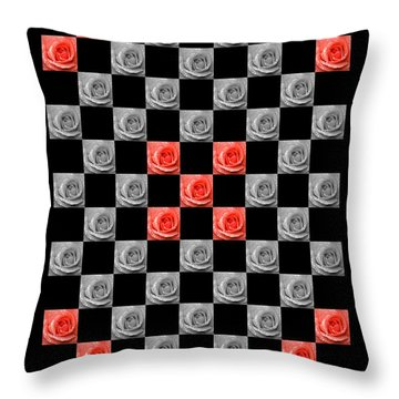 Chequered Rose Throw Pillow