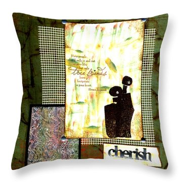 Cherished Friends Throw Pillow by Angela L Walker
