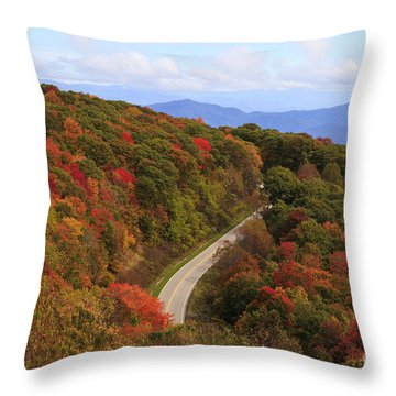Cherohala Skyway In Nc Throw Pillow