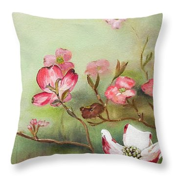 Cherokee Dogwood - Brave- Blushing Throw Pillow