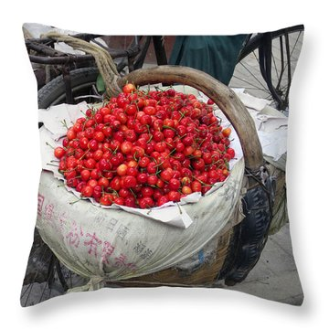 Cherries And Berries Throw Pillow