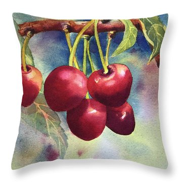 Cherries Throw Pillow