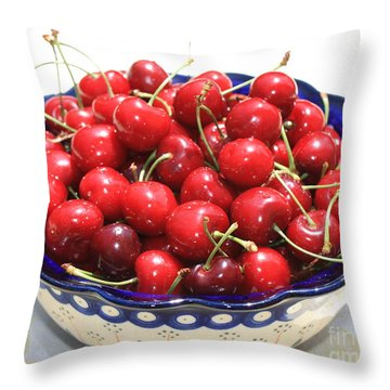 Cherries In Blue Bowl Throw Pillow by Carol Groenen