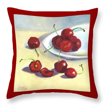 Throw Pillow featuring the painting Cherries On A Plate by Susan Thomas