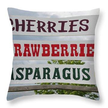 Cherries Strawberries Asparagus Roadside Sign Throw Pillow by Steve Gadomski